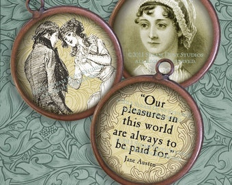 Jane Austen Images - Regency, Literary, Antique Images - 20mm Circles - Digital Collage Sheet - Instant Download & Print