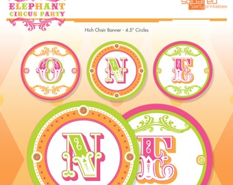 Pink Circus Elephant High Chair banner - Hot Pink - Printable 1st Birthday - DIY Print - Vintage Carnival - Instant Download