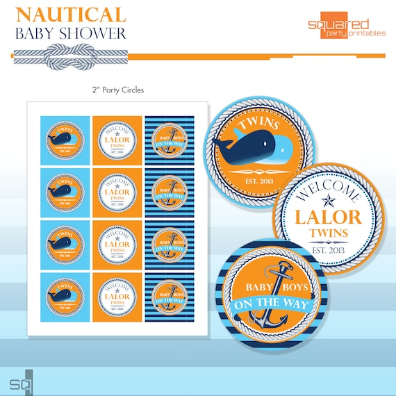 Nautical Baby Shower Party Circles Baby Whales Party Logos