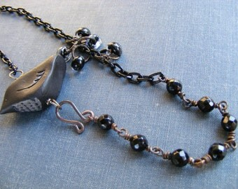 Quoth the Raven Necklace:  Black Raven Clay Bead with Dark Brass Chain Obsidian and Black Lampwork Teardrops