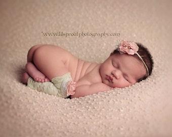 Cool Mint Green & Pale Pink Embellished Stretch Lace Leggies/Leg Warmers and Headband Set Newborn Baby Child Photo Prop