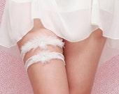 White, Ivory Wedding Garter Set  - Wedding Garter Ivory Organza Flower, Crystal Garter