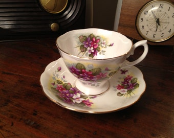 Royal Albert Teacup and Saucer Bone China in Violet Pattern Made in England