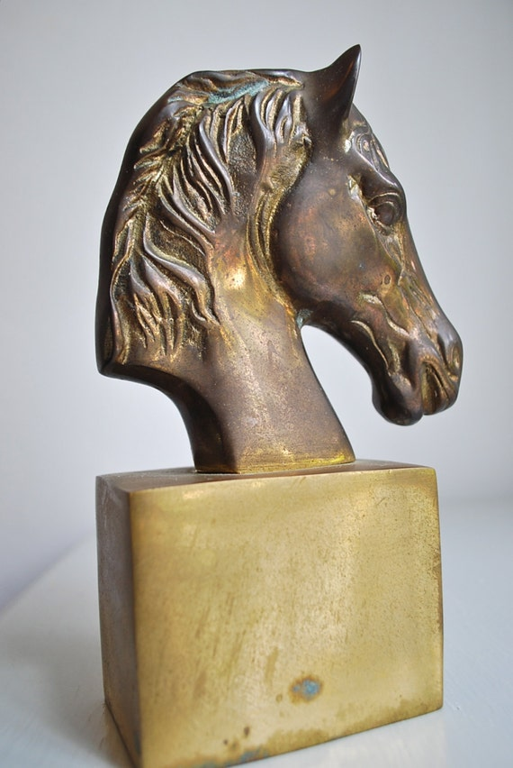 1960's Modernist Brass Horse Sculpture Bookend