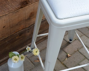 "Custom Upholstered Tolix Style Mini Stool in 18.75"" Height:  in the Fabric of Your Choice"