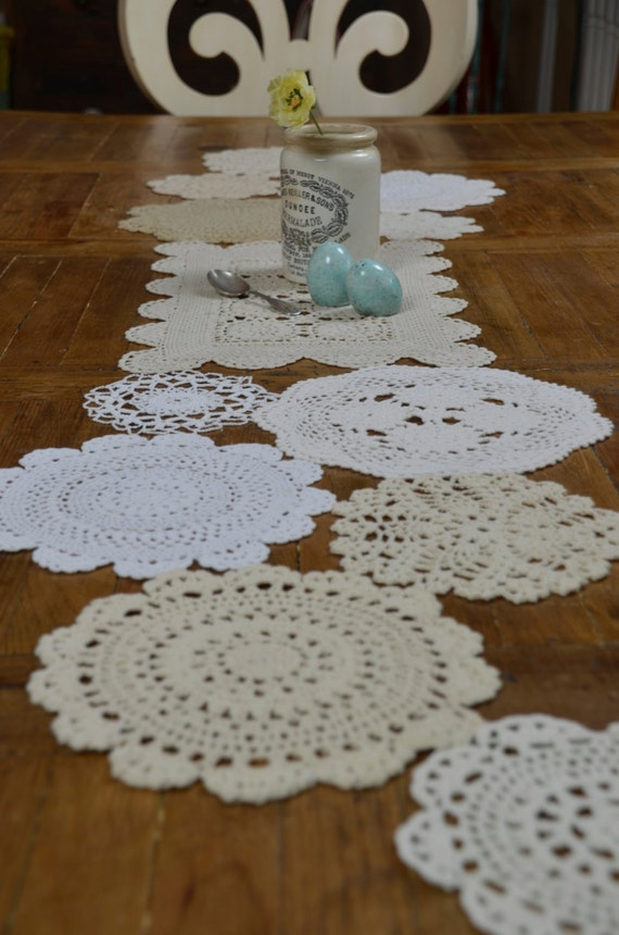 Custom vintage doily table runner 120 inch made by sugarscout for 120 inch table runner