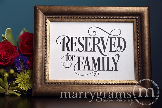 Reserved For Family Sign Table Card Wedding Reception