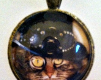 Steampunk Kitty Cat Pendant Necklace On a Matching Black Organza Ribbon