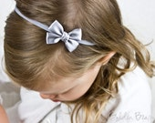 Silver Small Baby Bow - Flower Girl Headband - Silver Tiny Like a Butterfly Satin Bow Baby Handmade Headband - Infant to Adult Headband