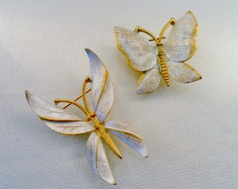 Pair of Vintage BSK Gold Tone and Brushed White Silver Butterfly Scatter Brooch Pins. Very Nice. Hallmarked Signed.