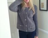Cardigan Chic - Hand Knit Gray Mohair Cardigan