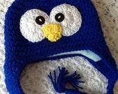 Penguin Hat with Fleece Lining, Child Animal Hat, Penguin Hat, Crochet Baby Hat, Winter Hat, Baby Hat, Newborn Hat, Child Hat