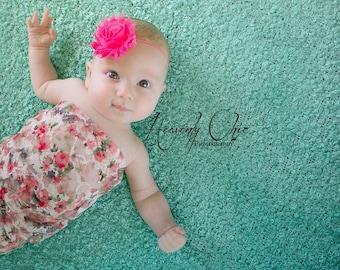 SHOP BEST SELLER Frayed Chiffon Hot Pink Flower Skinny Elastic Headband - Photo Prop - Newborn Infant Toddler - Birthday