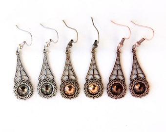 Sparkly Earrings, Wedding Jewelry, Filigree Earrings, Vintage Style, Vintage Wedding, Jewelry Under 50, Bridesmaid Gift, Bridal Jewelry