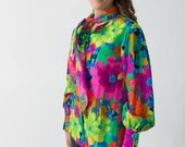 Cotton Blouse 1960s Psychedelic Small