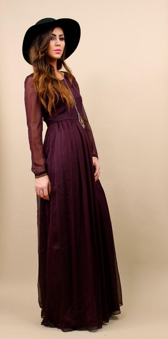 70s Vtg MAXI Chiffon Dress / Gypsy Boho Witch / Pleated Floor Length Avant Garde Wine Gown / Sz Xs - Small / Sheer Goth Glam Vamp