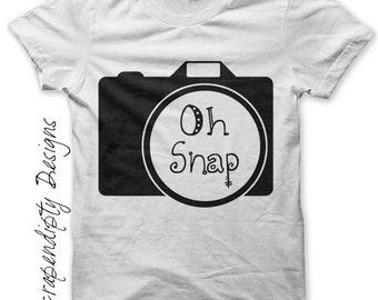 Iron on Camera Shirt PDF - Baby Iron on Transfer / Oh Snap Camera Art / Toddler Photography Shirt / Womens Clothing / Camera Print IT388-R