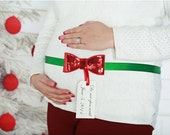 Sequin Bow Maternity Sash - Christmas Baby - Red Green Sash - Pregnancy Photo Prop Surprise Gift Belly Belt Don't Open Until - Party Gift