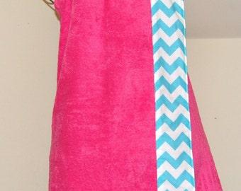 Monogrammed Towel Wrap with an Aqua and White Chevron Trim