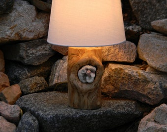 Wood lamp with coral - Log lamp - Modern rustic decor - Rustic table lamp