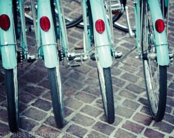Teal Turquoise Aqua Bike Wheels Art Print New York City Cobblestone Street Photography NYC Bicycles Home Decor