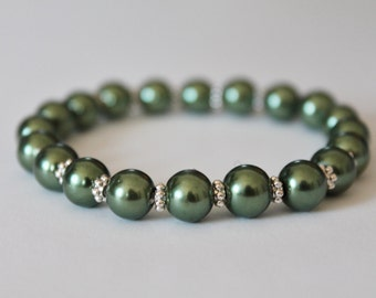 Olive Green Pearl Bracelet
