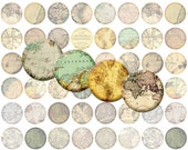 48 Vintage Map Bottlecap Images / Old Victorian Map Pages / Printable Digital Collage / Instant Download / World and City Maps / Cartography