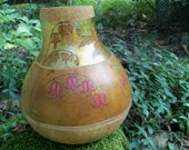 Bleeding Heart Dicentra GOURD VASE: Woodburned, Gold Leafed, Carved, and Painted Original Art