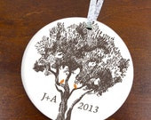 Monogram Love Initials Holiday Ornament - Birds in Rustic Tree- Custom Color Personalized Porcelain Christmas Couples Gift- orn237- Peachwik