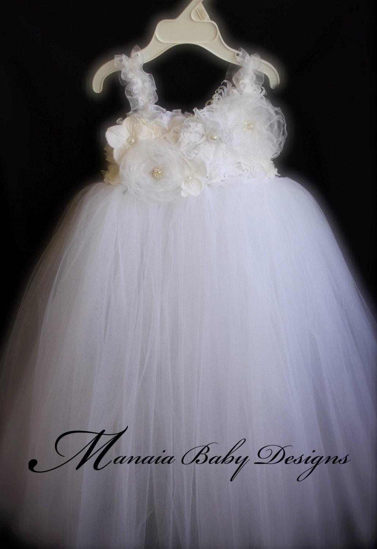country tutu baby wedding dresses White Flower Girl Tutu Dress White Baby Girl Baptism Dress White Vintage Tutu Dress White Tutu Dress