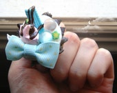 Clay Cupcake Ring (Adjustable): Pink & Sax Blue Kawaii Deco Den Polymer Clay Ring, Chocolate Chips, Miniature Fruit Slices, Silver Tone Band