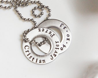 Mens Washer Necklace Personalized Name Date Anniversary Coordinates Stainless Steel Jewelry for Him