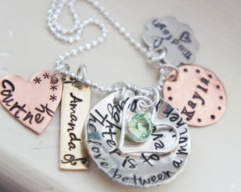 Mothers Necklace Name Charm Birthstone Jewelry Personalized Mom Gift Mixed Metal Silver Copper Brass Rustic