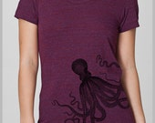Octopus T Shirt  Women's American Apparel tee shirt S, M, L, XL  8 COLORS