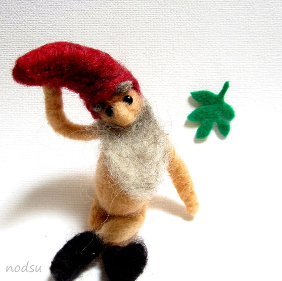 Gnome Miniature Needle Felted Naked Mature Male Doll By Nodsu-5967
