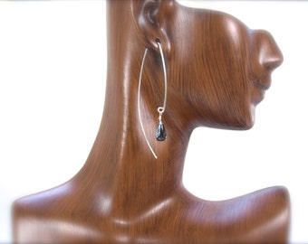 Elegant london blue topaz earrings. Long wires faceted blue topaz briolette earrings. Super long. Simple. Sleek.