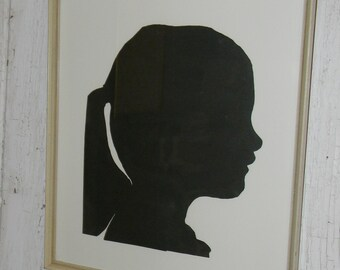Vintage Large Framed Silhouette of Girl