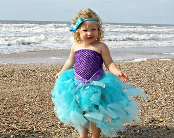 WHOLE OUTFIT Disney Princess Little Mermaid Inspired Tutu Skirt SET Birthday Dress Up Outfit Halloween Costume nb baby to 3T