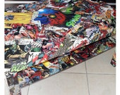 LARGE CUSTOM Comic Collage Coffee Table (with bottom shelf)