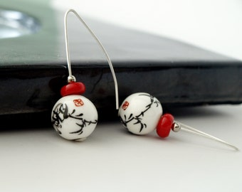 Asian Dangle Earrings with Red Coral - Chinese ceramic earrings