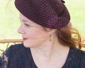 "1950s Hat cocktail Hat in wine colored Fur Felt Velour ""Grace"""