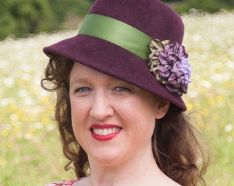 Margaret Cloche Hat in Eggplant  Fur Felt Velour with Satin Ribbon and Ribbon Flowers