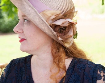 "Cloche Hat Upturned Brim 1920s in Rose Straw Millinery Rose, ""Rose"""