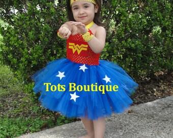 Toddler-Wonder Woman inspired tutu dress set