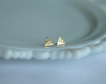 Hammered Brass Triangle Earrings