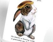 Funny Card, Pancake Bunny Greeting Card, Cute Rabbit Art Card, Personalized Card, Birthday Card, Thank You Card, Anniversary Card
