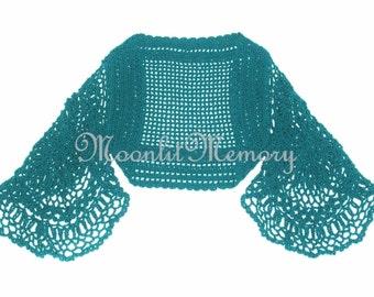 Crochet Shrug Flutter Angel Sleeves M L XL Hand Crocheted Sweater white teal cream