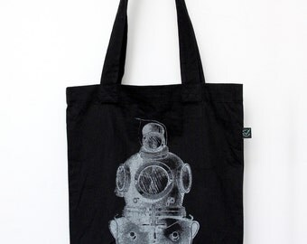 ON SALE Deep Sea Diver Black Cotton Tote Bag, Organic, Eco-friendly & Fair Trade, Silver Screenprint, with Gusset, Vintage Illustration