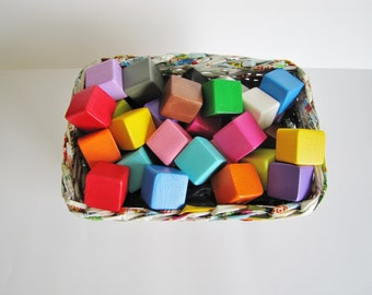 Large Block set for children. Set of 30. Rainbow colors. Toddler toy / Waldorf style. Classic gift. eco friendly. Wooden building blocks.