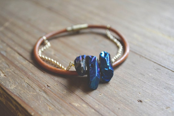 leather and blue titanium quartz bracelet
